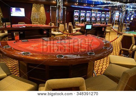 Barcelona, Spain, July 11, 2016 : Casino Interior Room With Blackjack Table And Slot Machines On A C
