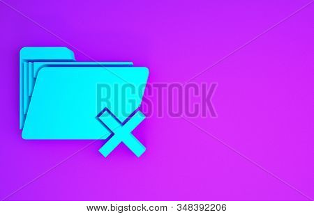 Blue Delete Folder Icon Isolated On Purple Background. Folder With Recycle Bin. Delete Or Error Fold