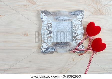 Photo Frame And Decorative Red Hearts For Valentine's Day. Holiday Card For Lovers.