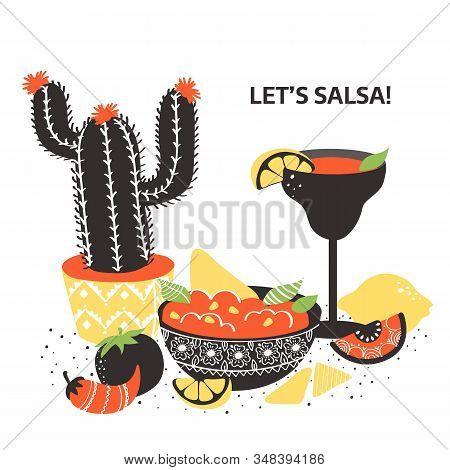 Set Of Colorful Hand Drawn Mexican Food Elements: Salsa, Margarita, Lemon, Cactus, Tomato. Hand Draw