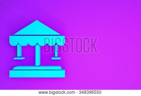 Blue Attraction Carousel Icon Isolated On Purple Background. Amusement Park. Childrens Entertainment