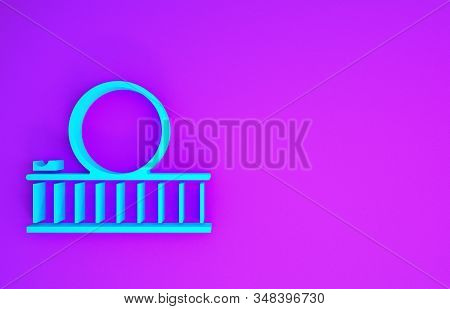 Blue Roller Coaster Icon Isolated On Purple Background. Amusement Park. Childrens Entertainment Play