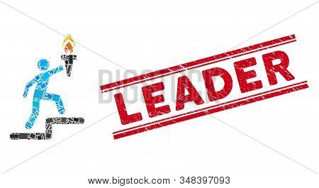 Mosaic Leader With Torch Pictogram And Red Leader Stamp Between Double Parallel Lines. Flat Vector L