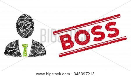 Mosaic Boss Icon And Red Boss Seal Stamp Between Double Parallel Lines. Flat Vector Boss Mosaic Pict
