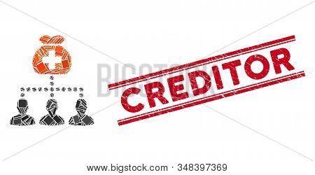 Mosaic Medical Fund Clients Pictogram And Red Creditor Seal Stamp Between Double Parallel Lines. Fla