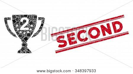 Mosaic Second Place Pictogram And Red Second Stamp Between Double Parallel Lines. Flat Vector Second