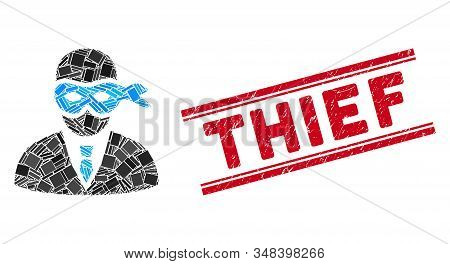 Mosaic Masked Thief Pictogram And Red Thief Stamp Between Double Parallel Lines. Flat Vector Masked