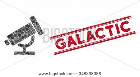 Mosaic Telescope Pictogram And Red Galactic Stamp Between Double Parallel Lines. Flat Vector Telesco