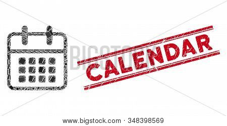 Mosaic Calendar Pictogram And Red Calendar Seal Stamp Between Double Parallel Lines. Flat Vector Cal