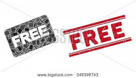Mosaic Free Card Icon And Red Free Seal Stamp Between Double Parallel Lines. Flat Vector Free Card M