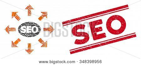 Mosaic Seo Spam Icon And Red Seo Stamp Between Double Parallel Lines. Flat Vector Seo Spam Mosaic Ic