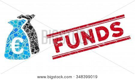 Mosaic Euro Funds Icon And Red Funds Seal Stamp Between Double Parallel Lines. Flat Vector Euro Fund