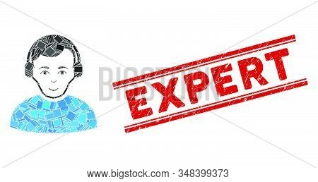 Mosaic Radioman Pictogram And Red Expert Watermark Between Double Parallel Lines. Flat Vector Radiom