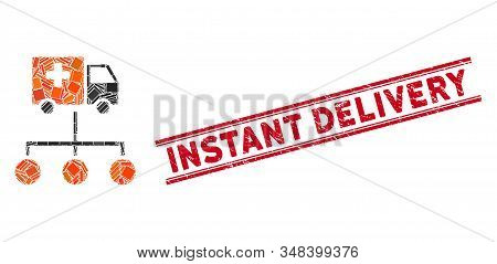 Mosaic Medical Delivery Links Pictogram And Red Instant Delivery Seal Stamp Between Double Parallel