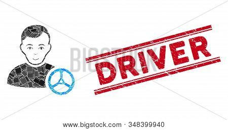 Mosaic Car Driver Pictogram And Red Driver Seal Stamp Between Double Parallel Lines. Flat Vector Car