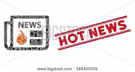 Mosaic Hot News Icon And Red Hot News Seal Stamp Between Double Parallel Lines. Flat Vector Hot News