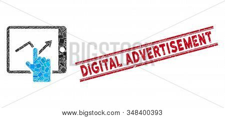 Mosaic Tap Trend On Pda Icon And Red Digital Advertisement Stamp Between Double Parallel Lines. Flat