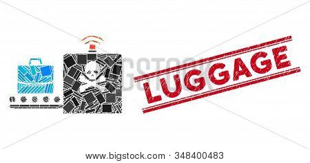 Mosaic Luggage Airport Control Icon And Red Luggage Watermark Between Double Parallel Lines. Flat Ve
