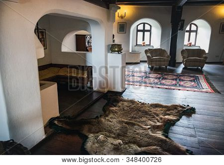 Bran, Romania - September 7, 2017: One Of Living Rooms In Bran Or Dracula Castle In Transylvania, Ro