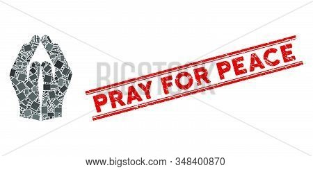 Mosaic Pray Hands Pictogram And Red Pray For Peace Seal Between Double Parallel Lines. Flat Vector P