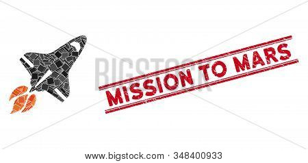 Mosaic Space Shuttle Pictogram And Red Mission To Mars Seal Stamp Between Double Parallel Lines. Fla