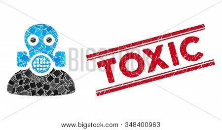 Mosaic Toxic Work Pictogram And Red Toxic Seal Between Double Parallel Lines. Flat Vector Toxic Work