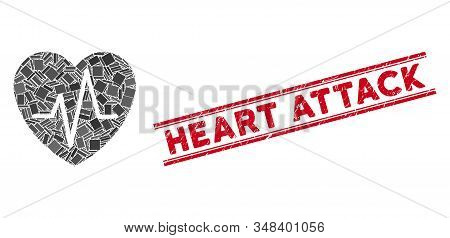 Mosaic Cardiology Heart Pulse Pictogram And Red Heart Attack Seal Between Double Parallel Lines. Fla