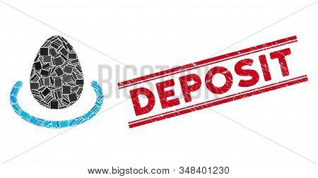 Mosaic Deposit Egg Icon And Red Deposit Seal Stamp Between Double Parallel Lines. Flat Vector Deposi