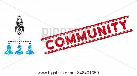 Mosaic Rocket Space Community Icon And Red Community Seal Stamp Between Double Parallel Lines. Flat