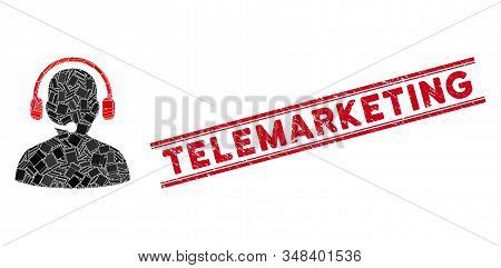 Mosaic Telemarketing Pictogram And Red Telemarketing Seal Stamp Between Double Parallel Lines. Flat