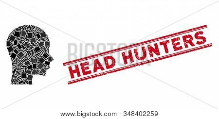 Mosaic Head Icon And Red Head Hunters Seal Between Double Parallel Lines. Flat Vector Head Mosaic Ic