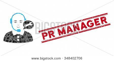 Mosaic Service Center Lady Operator Pictogram And Red Pr Manager Stamp Between Double Parallel Lines