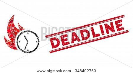 Mosaic Deadline Burn Clock Icon And Red Deadline Seal Stamp Between Double Parallel Lines. Flat Vect