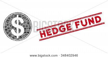Mosaic Dollar Coin Pictogram And Red Hedge Fund Stamp Between Double Parallel Lines. Flat Vector Dol