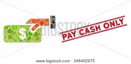 Mosaic Pay Pictogram And Red Pay Cash Only Seal Stamp Between Double Parallel Lines. Flat Vector Pay
