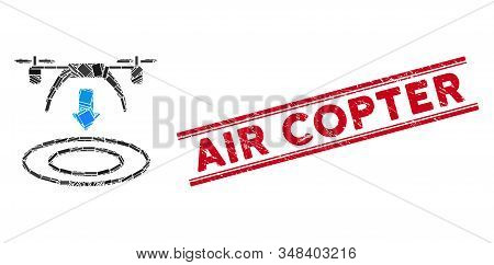 Mosaic Copter Arrival Icon And Red Air Copter Seal Stamp Between Double Parallel Lines. Flat Vector