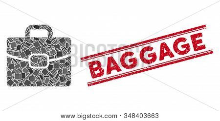 Mosaic Briefcase Icon And Red Baggage Stamp Between Double Parallel Lines. Flat Vector Briefcase Mos
