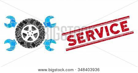 Mosaic Tire Service Wrenches Pictogram And Red Service Stamp Between Double Parallel Lines. Flat Vec