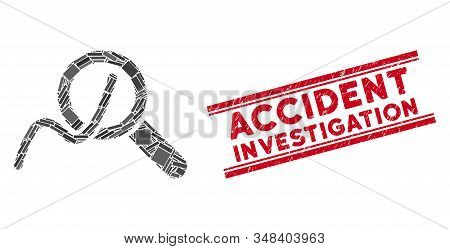 Mosaic Explore Charts Pictogram And Red Accident Investigation Seal Stamp Between Double Parallel Li
