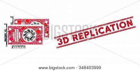 Mosaic Graphic Accelerator Cards Pictogram And Red 3d Replication Seal Stamp Between Double Parallel