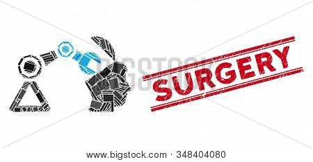 Mosaic Open Head Surgery Manipulator Pictogram And Red Surgery Stamp Between Double Parallel Lines.