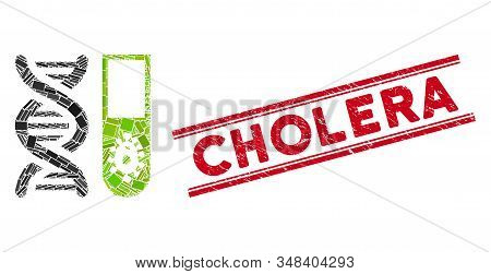 Mosaic Hitech Microbiology Pictogram And Red Cholera Seal Stamp Between Double Parallel Lines. Flat
