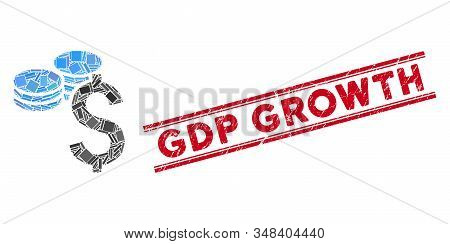Mosaic Dollar Coins Icon And Red Gdp Growth Seal Stamp Between Double Parallel Lines. Flat Vector Do