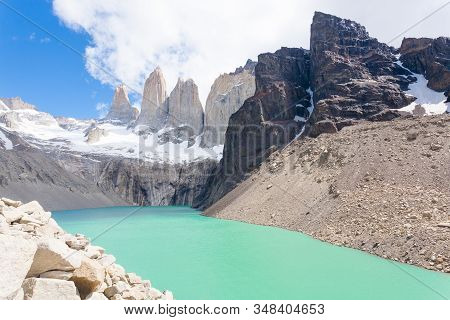 Torres Del Paine Peaks View, Chile.  Base Las Torres Viewpoint. Chilean Patagonia Landscape.
