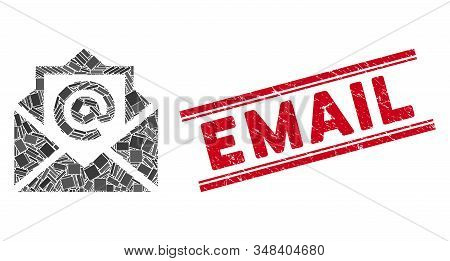 Mosaic Email Pictogram And Red Email Seal Stamp Between Double Parallel Lines. Flat Vector Email Mos