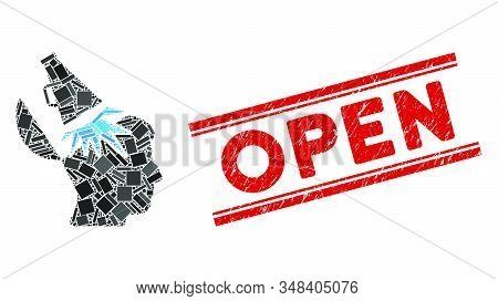 Mosaic Open Mind Megaphone Icon And Red Open Seal Stamp Between Double Parallel Lines. Flat Vector O