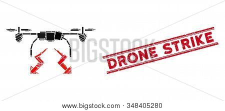 Mosaic Drone Strike Icon And Red Drone Strike Rubber Print Between Double Parallel Lines. Flat Vecto