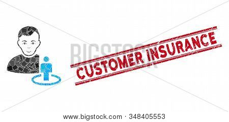 Mosaic Portal Moderator Pictogram And Red Customer Insurance Seal Stamp Between Double Parallel Line