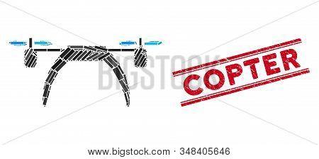 Mosaic Copter Pictogram And Red Copter Seal Stamp Between Double Parallel Lines. Flat Vector Copter
