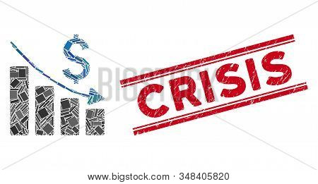 Mosaic Sales Crisis Chart Pictogram And Red Crisis Rubber Print Between Double Parallel Lines. Flat